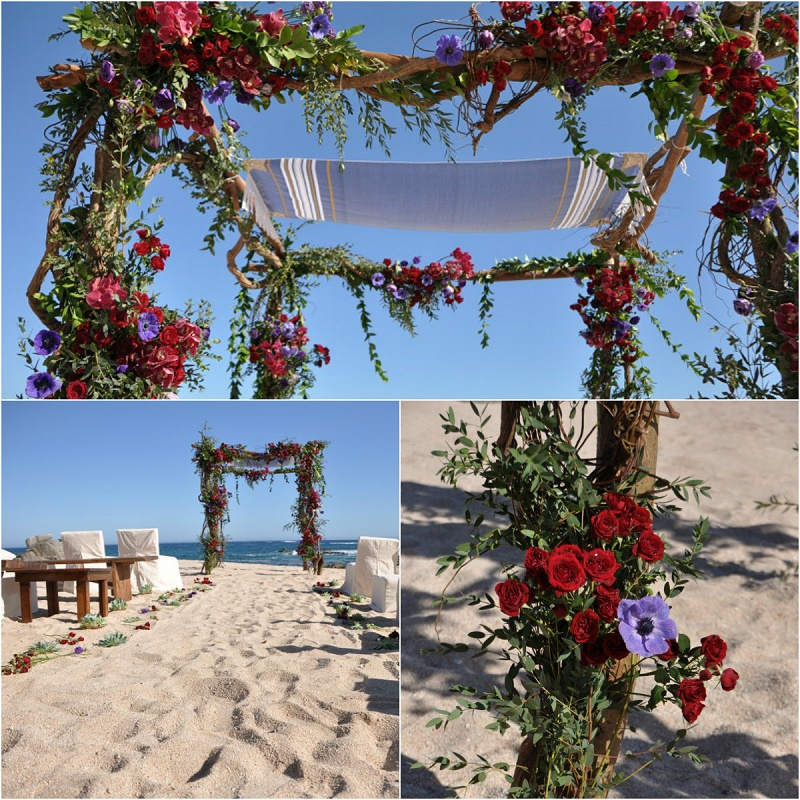 red ceremony chuppah natural flowers beach weddings mexico elena damy floral design