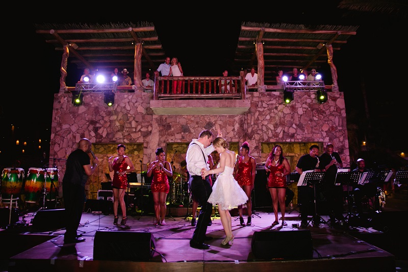 after party dancing on the stage beach weddings los cabos esperanza resort elena damy event design chris plus lynn photography