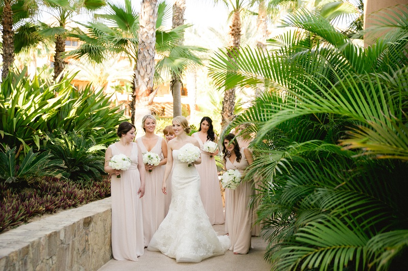 bridal party walking beach weddings los cabos esperanza resort elena damy event design chris plus lynn photography