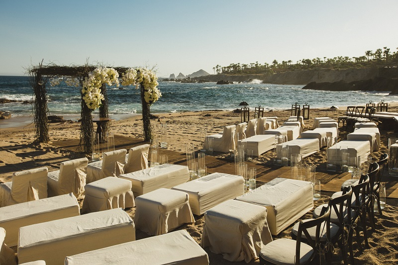 ceremony setup chuppah beach weddings los cabos esperanza resort elena damy event design chris plus lynn photography