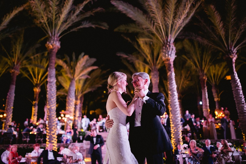 father daughter dance palm trees esperanza resort los cabos mexico destination weddings luxury events elena damy chris plus lynn
