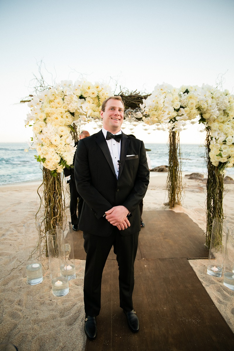 groom waiting beach weddings los cabos esperanza resort elena damy event design chris plus lynn photography