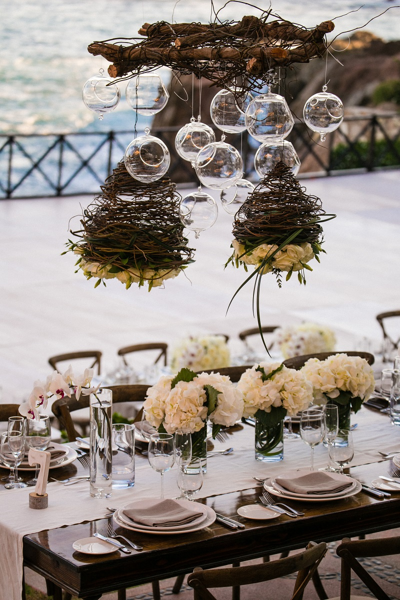 hanging flowers beach weddings los cabos esperanza resort elena damy event design chris plus lynn photography