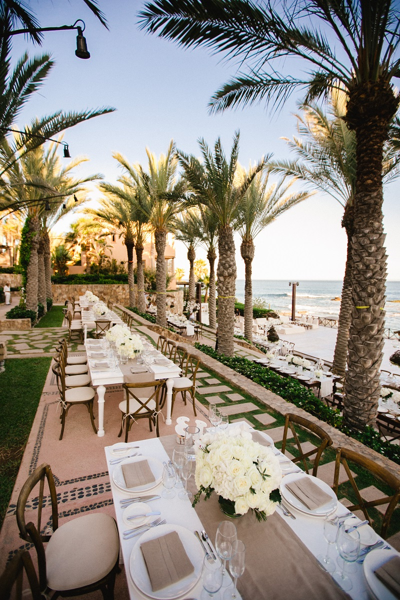 rectangular dinner tables beach weddings los cabos esperanza resort elena damy event design chris plus lynn photography