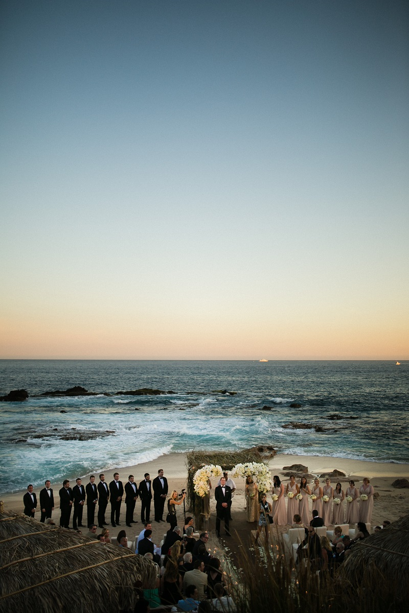 sunset ceremonies beach weddings los cabos esperanza resort elena damy event design chris plus lynn photography