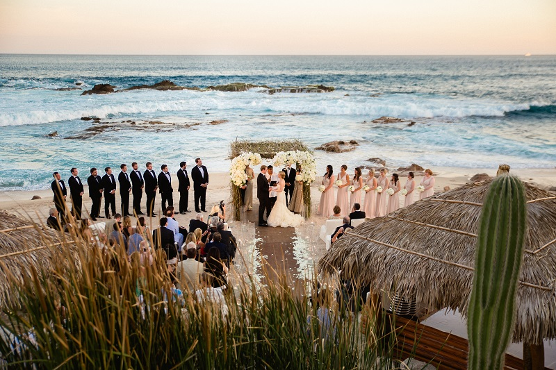 wedding party chuppah beach weddings los cabos esperanza resort elena damy event design chris plus lynn photography