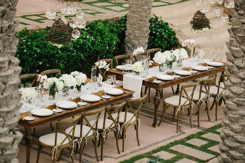 white floral centerpieces beach weddings los cabos esperanza resort elena damy event design chris plus lynn photography