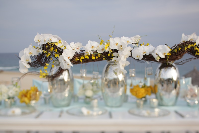 beach wedding flowers white orchids yellow orchids elena damy floral design mexico chris plus lynn