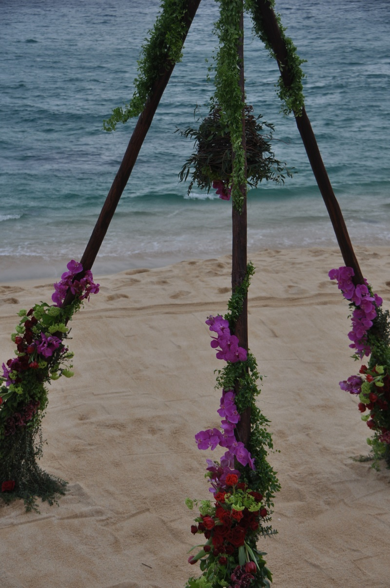 hanging flowers wedding ceremony design elena damy destination wedding planners mexico