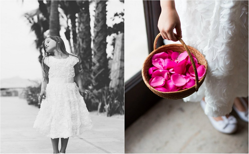 flower girls beach weddings mexico elena damy floral design hot pink petals
