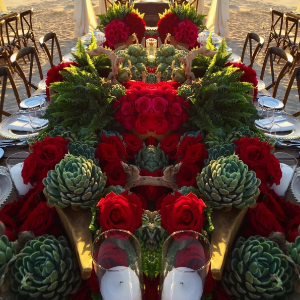 red roses and succulents elena damy floral design jeff leatham event design