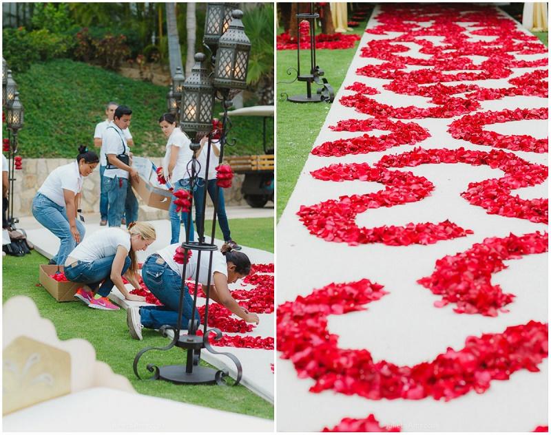 red petal ceremony aisle elena damy los cabos floral decorator