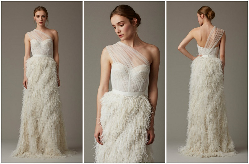 the dusk champagne wedding gown with feathers by lela rose wedding gowns we love elena damy destination weddings