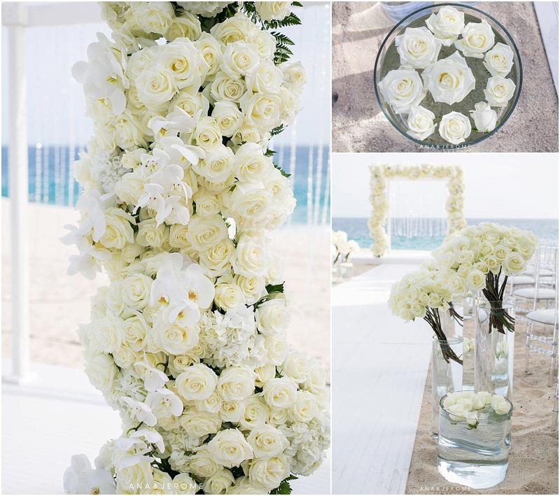 White Wedding Flowers Beach Weddings Cabo Destination Wedding Ana Jerome Photo 2