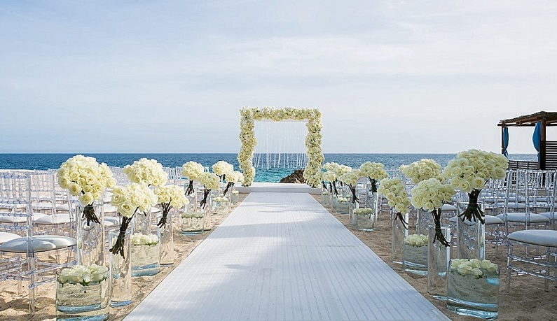 White Wedding Flowers Beach Weddings Cabo Destination Wedding Ana Jerome Photo 3