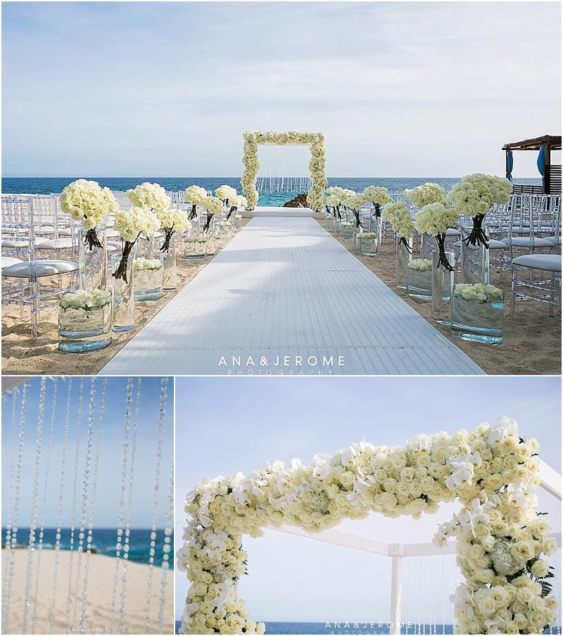 White Wedding Flowers Beach Weddings Cabo Destination Wedding Ana Jerome Photo