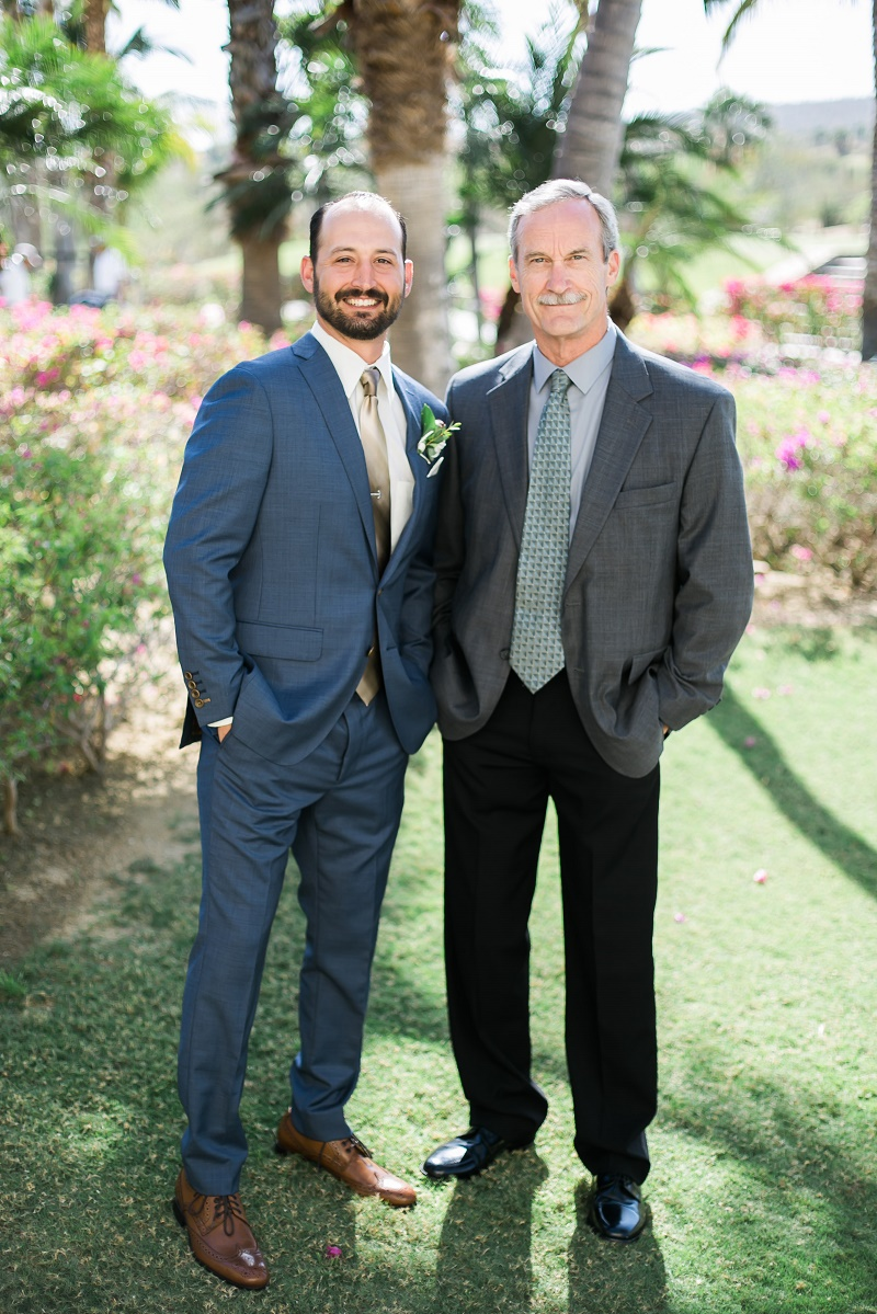 Groom and his father wedding day photos cabo del sol