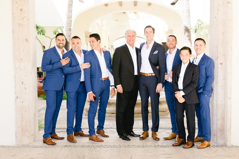 blue suits brown shoes groom attire weddings at cabo del sol elena damy destination wedding planners mexico chris plus lynn photo