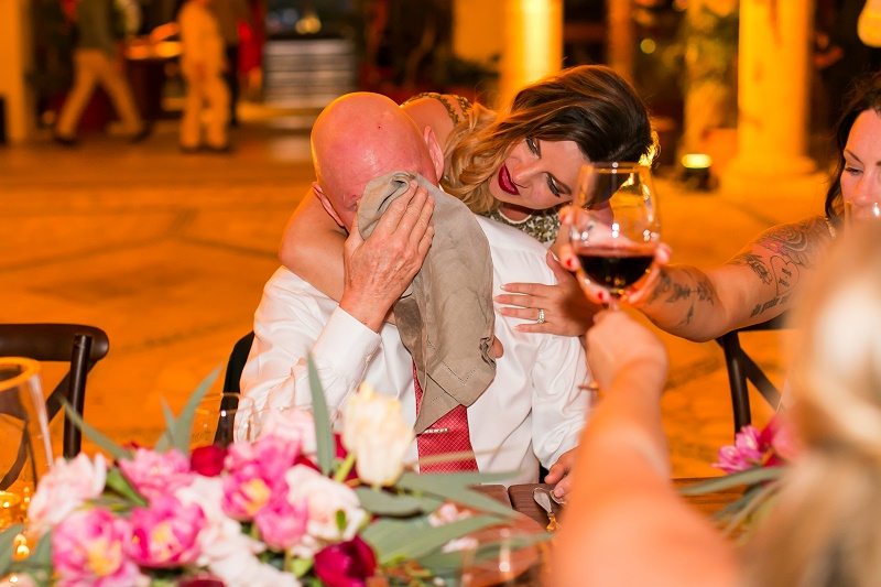 bride and dad crying after father of the bride toast