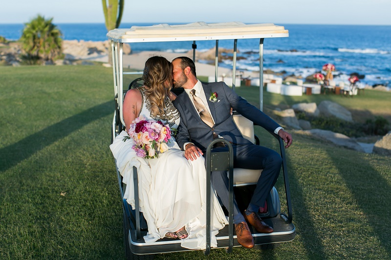 bride and groom golf cart cabo del sol elena damy destination weddings