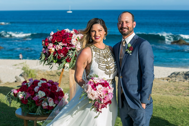 bride and groom photos on the beach cabo del sol