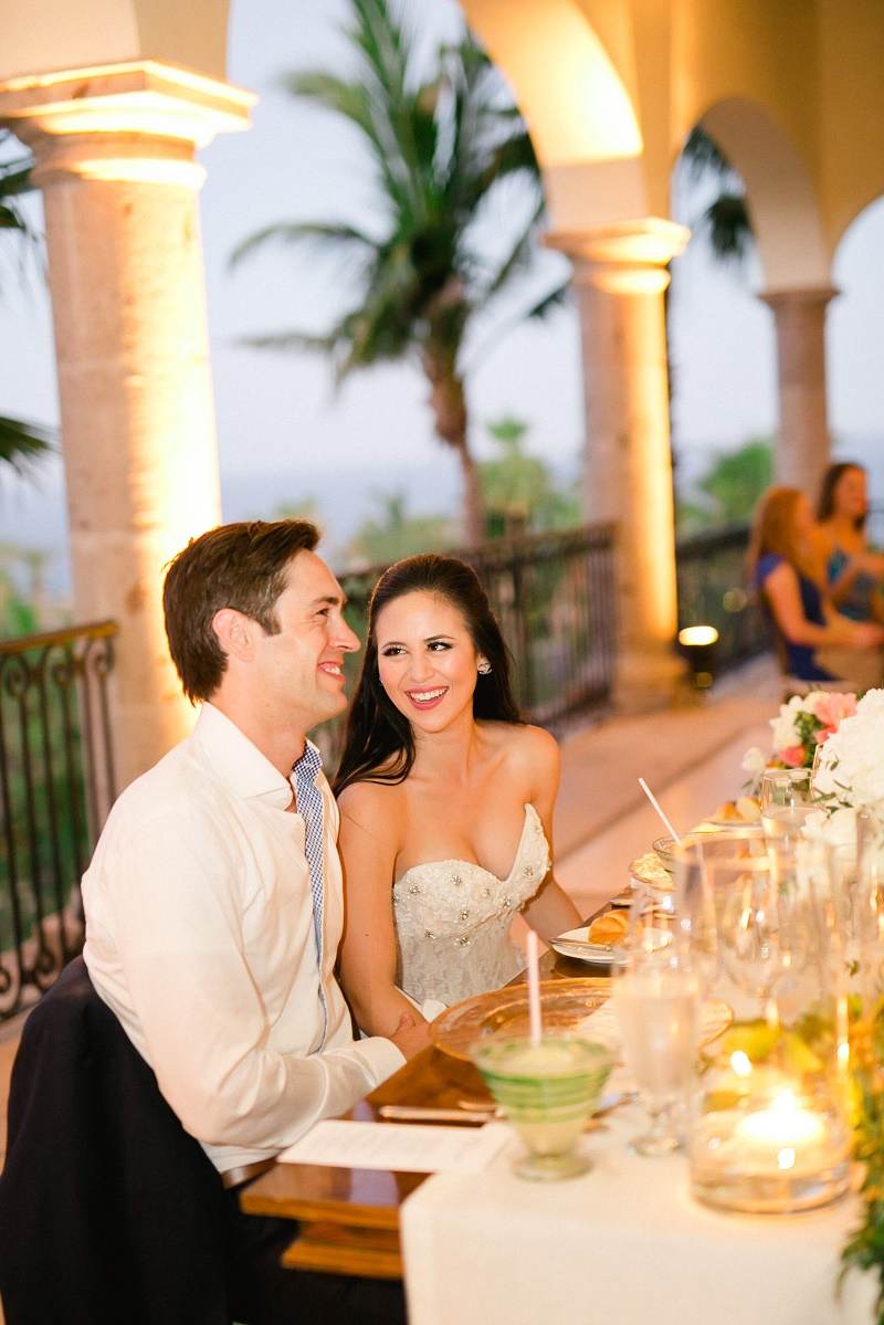 bride and groom sweetheart table weddings at cabo del sol elena damy destination wedding planners mexico chris plus lynn photo