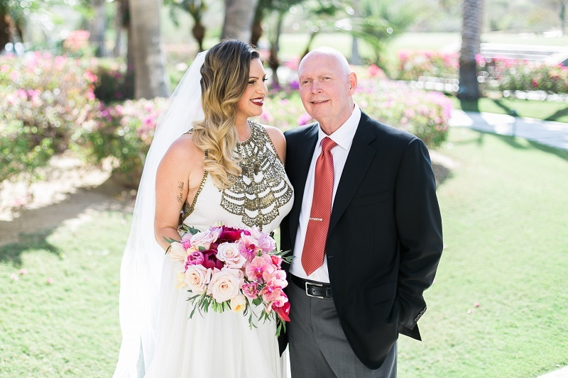 bride and her father cabo del sol weddings elena damy wedding planners