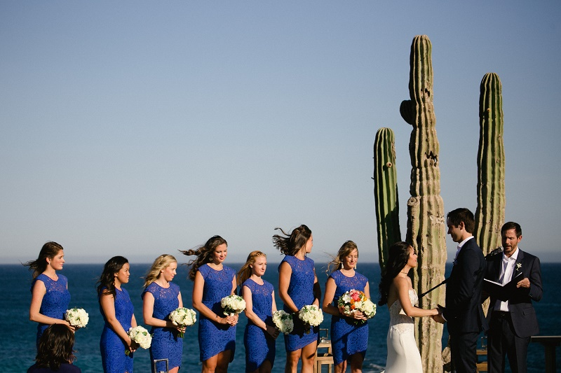 bridesmaids wedding ceremony weddings at cabo del sol elena damy destination wedding planners mexico chris plus lynn photo