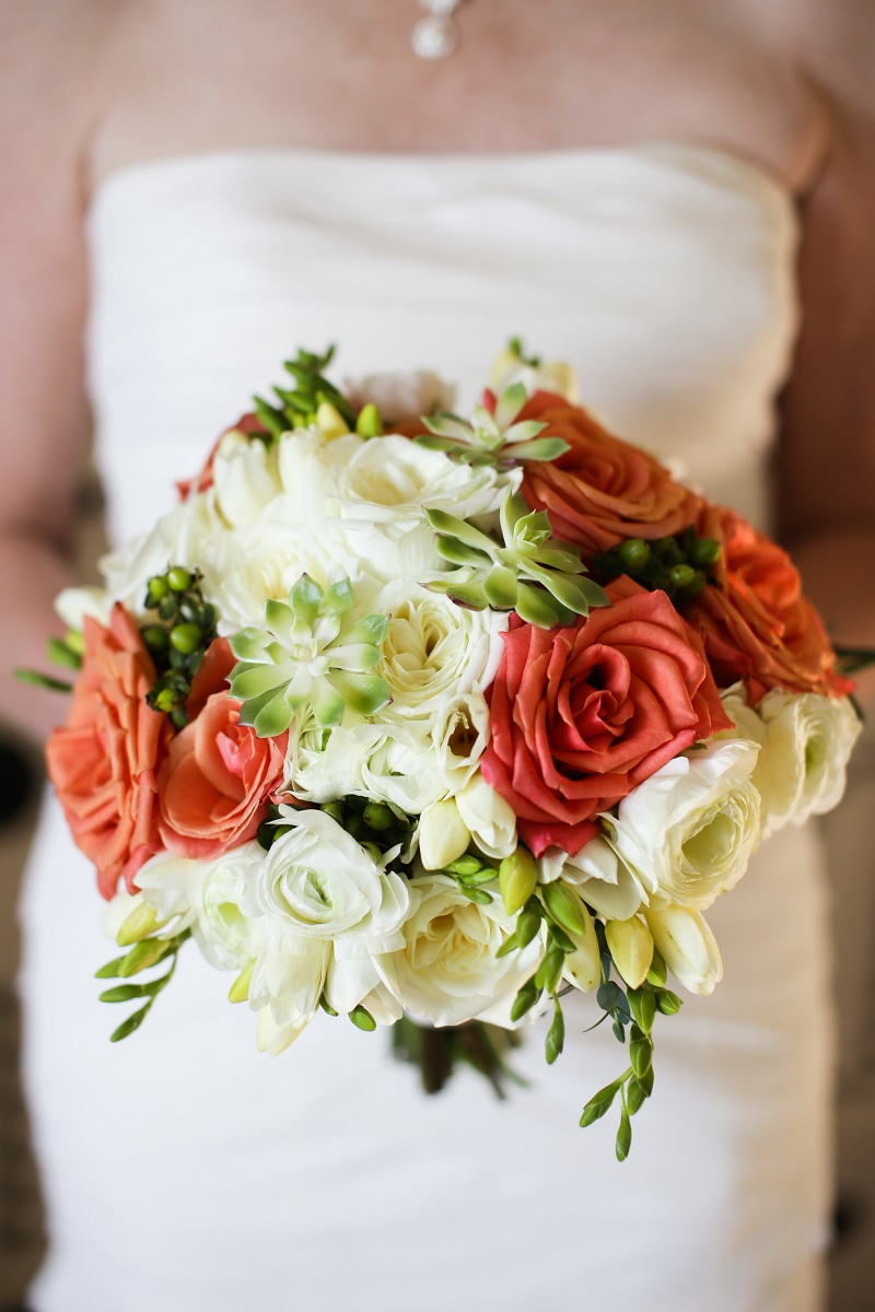orange roses white roses green succulent bridal bouquet cabo wedding elena damy floral designer pink palm photo