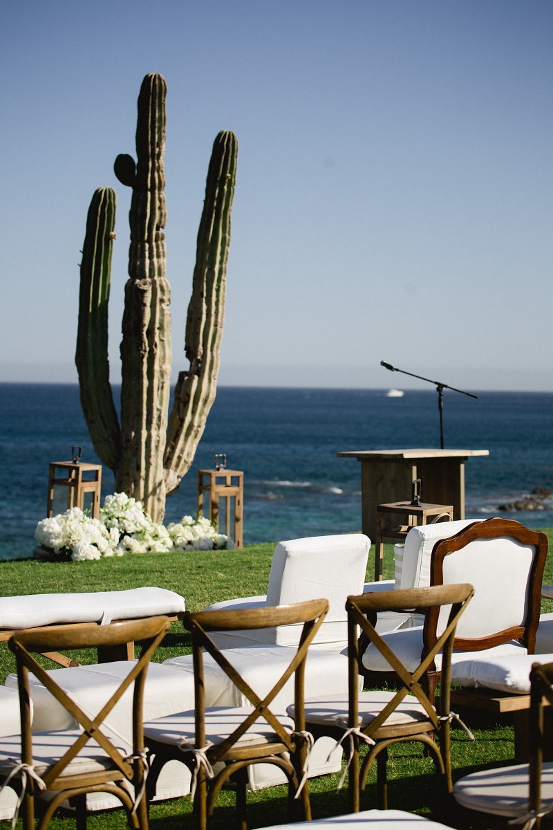 Outdoor Ceremony White Furniture Saguaro Cactus Weddings At Cabo Del Sol  Elena Damy Destination Wedding Planners Mexico Chris Plus Lynn Photo