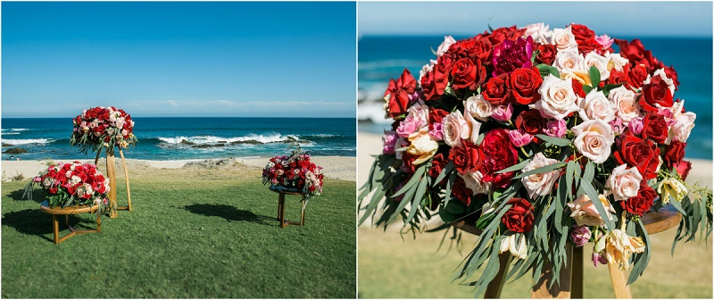 wedding ceremony flowers red roses beach weddings cabo del sol elena day floral design