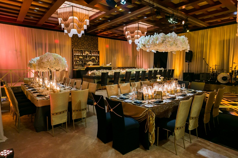 Black and Gold White Wedding Reception Destination Wedding Cabo Hindu Christian Wedding Elena Damy Floral Design Ana and Jerome Photo