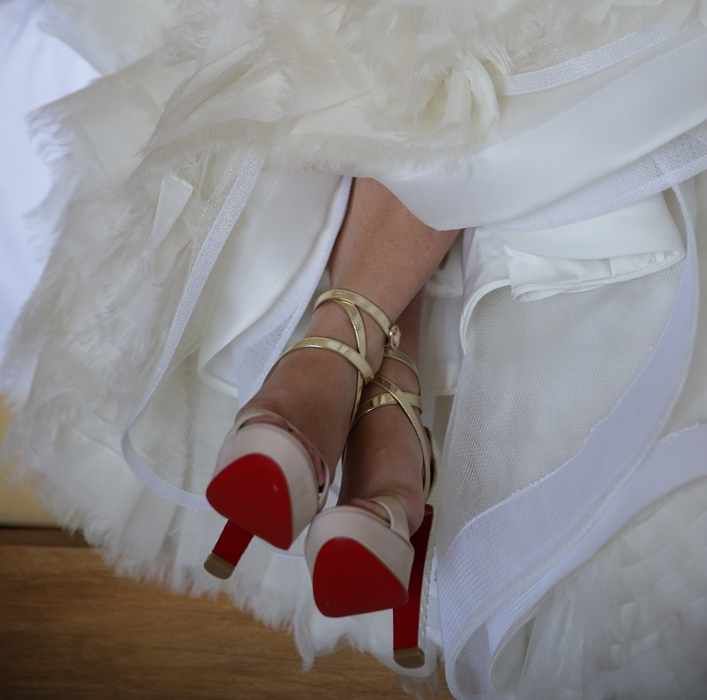 Bridal Shoes Christian Louboutins White and Gold Beach Weddings Elena Damy Destination Weddings Chris Plus Lynn 2