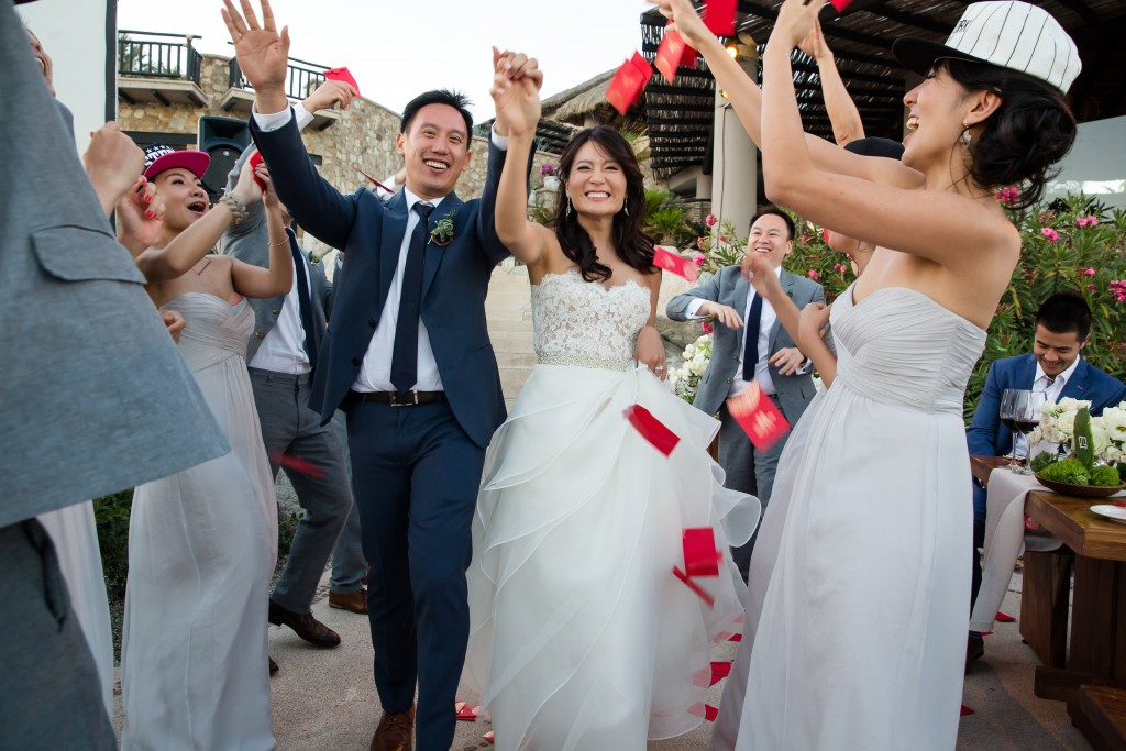 Bride and Groom Recessional Elena Damy Destination Wedding Planners Cabo Mexico 4 Eyes Photography