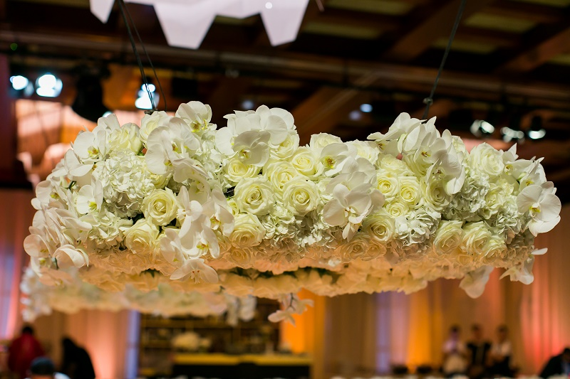 Hanging Flowers Gold and White Wedding Destination Wedding Cabo Hindu Christian Wedding Elena Damy Floral Design Ana and Jerome Photo