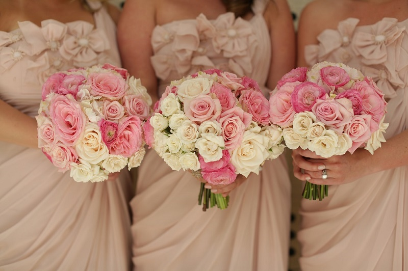 Pink Bridesmaids Bouquets Destination Weddings Mexico Elena Damy Wedding Planners