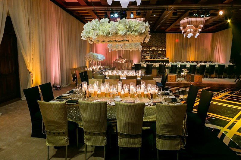 Rectangular Dinner Tables Gold and White Wedding Destination Wedding Cabo Hindu Christian Wedding Elena Damy Floral Design Ana and Jerome Photo
