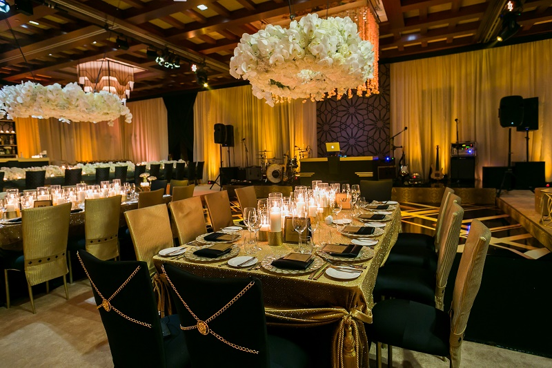 Square Dinner Tables Black and Gold White Wedding Destination Wedding Cabo Hindu Christian Wedding Elena Damy Floral Design Ana and Jerome Photo