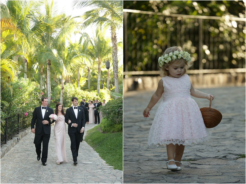 bridal party and flower girl processionals Cabo Weddings One and Only Palmilla Elena Damy Event Design Cabo Chris Plus Lynn Photo