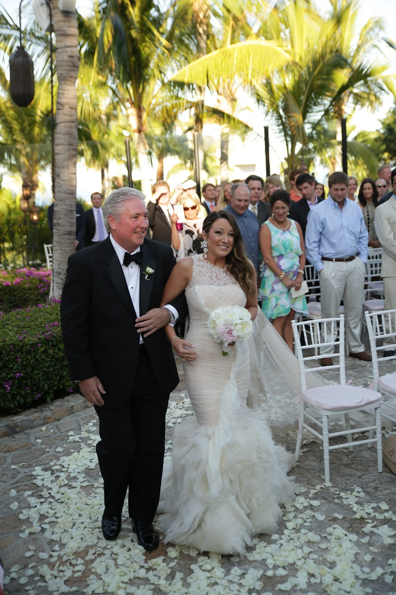 brides processional with father Cabo Weddings One and Only Palmilla Elena Damy Event Design Cabo Chris Plus Lynn Photo
