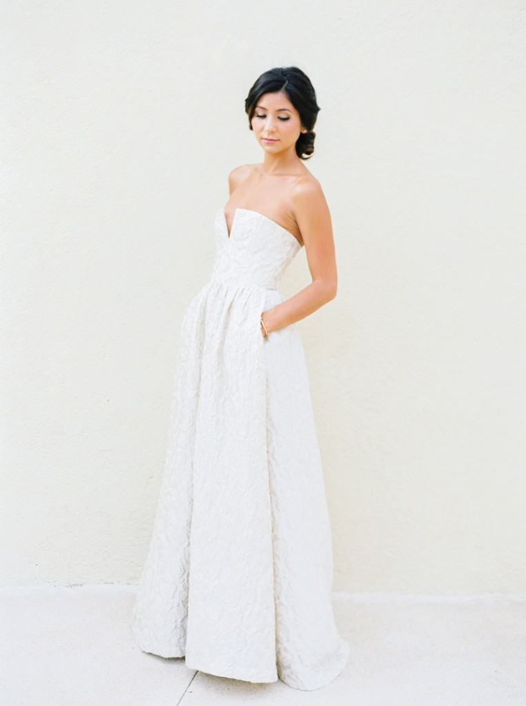 brocade strapless alice and olivia wedding gown elena damy destination wedding planners fashion friday bridal style bridesmaid dress cabo weddings