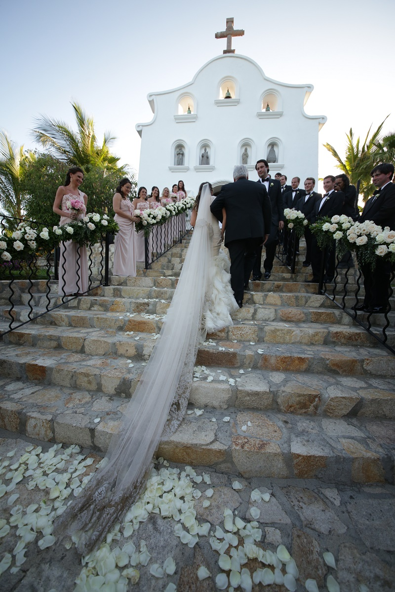 ceremony chapel steps Cabo Weddings One and Only Palmilla Elena Damy Event Design Cabo Chris Plus Lynn Photo
