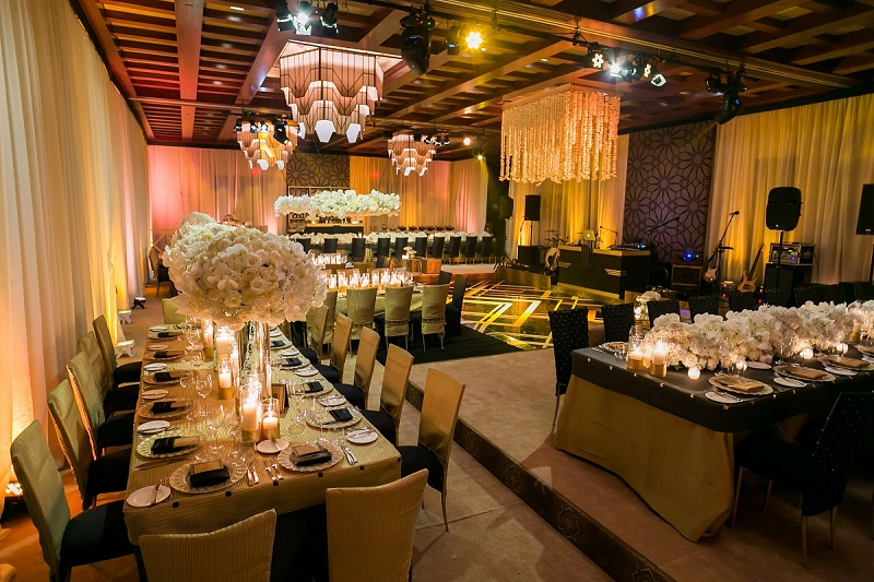 gold and black gatsby wedding design elena damy destination weddings floral design mexico 800