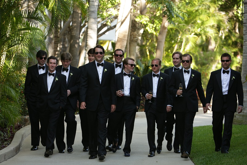 groom groomsmen walking to ceremony Cabo Weddings One and Only Palmilla Elena Damy Event Design Cabo Chris Plus Lynn Photo
