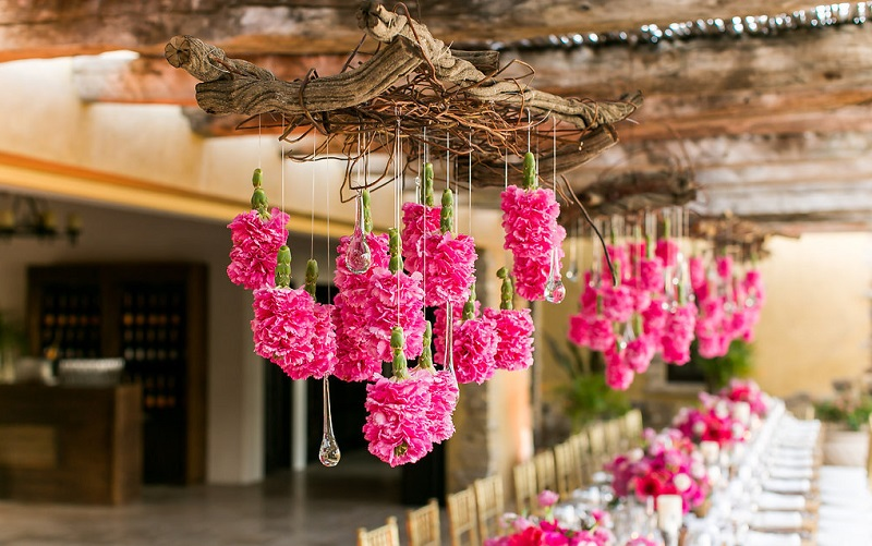 hanging flowers pink floral arrangements destination weddings mexico elena damy event designers
