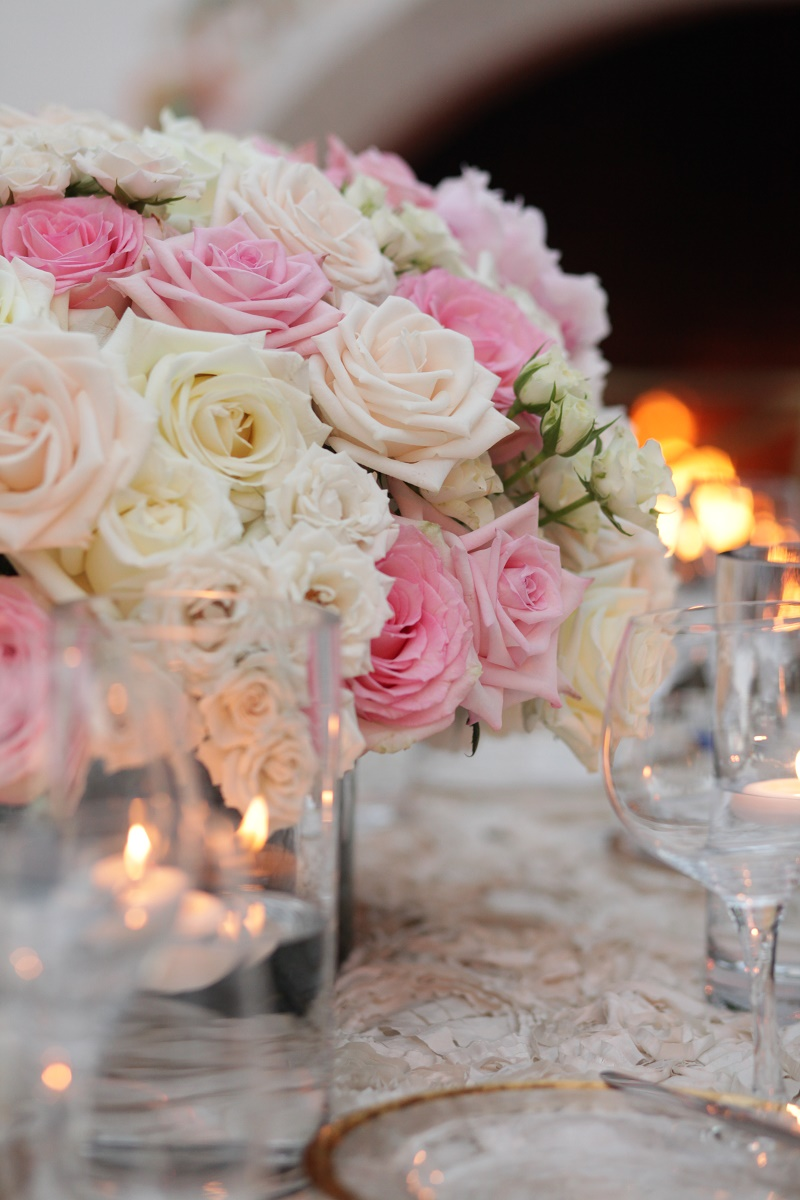 low pink and white centerpieces Cabo Weddings One and Only Palmilla Elena Damy Event Design Cabo Chris Plus Lynn Photo