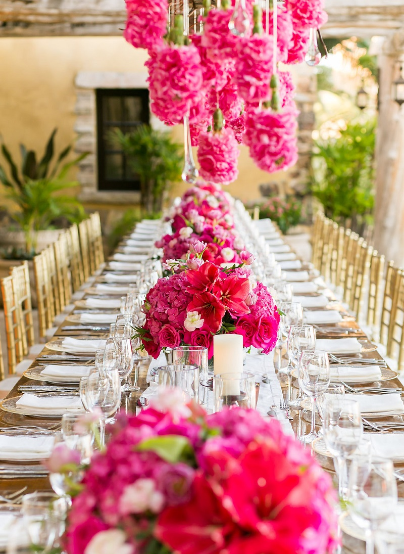 low pink floral arrangements destination weddings los cabos mexico elena damy wedding inspiration 2