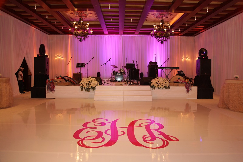 monogrammed dance floor pink calligraphy Cabo Weddings One and Only Palmilla Elena Damy Event Design Cabo Chris Plus Lynn Photo
