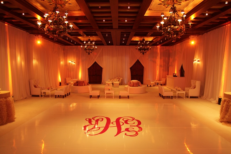 monogrammed white dance floor white lounge Cabo Weddings One and Only Palmilla Elena Damy Event Design Cabo Chris Plus Lynn Photo