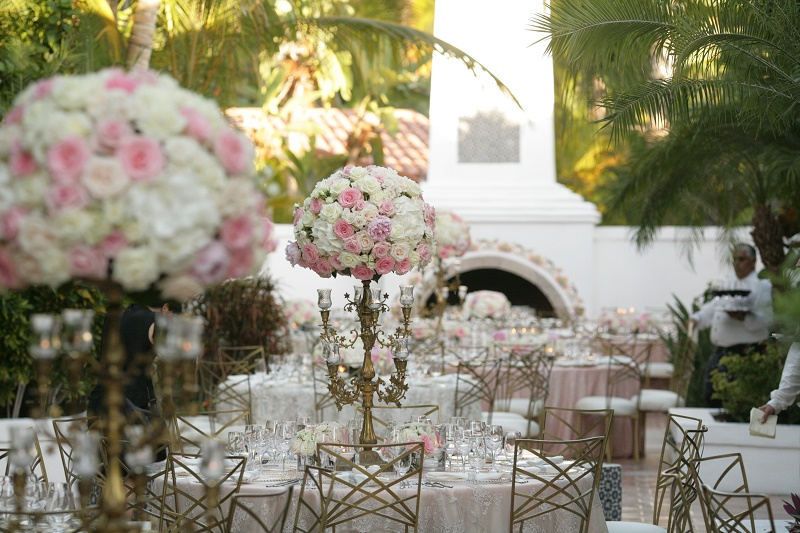 outdoor dinner reception traditional pink and white flowers Cabo Weddings One and Only Palmilla Elena Damy Event Design Cabo Chris Plus Lynn Photo